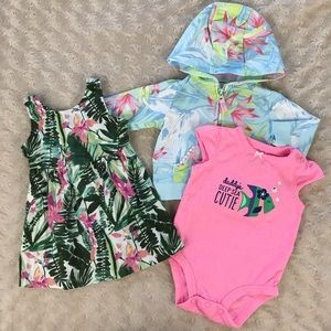 Baby Girl Bundle Tropical Flower Dress Jacket